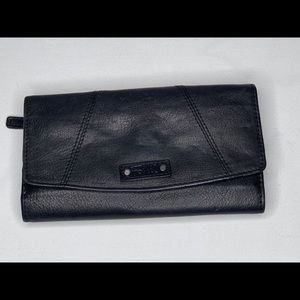 Fossil Black Leather Checkbook Wallet
